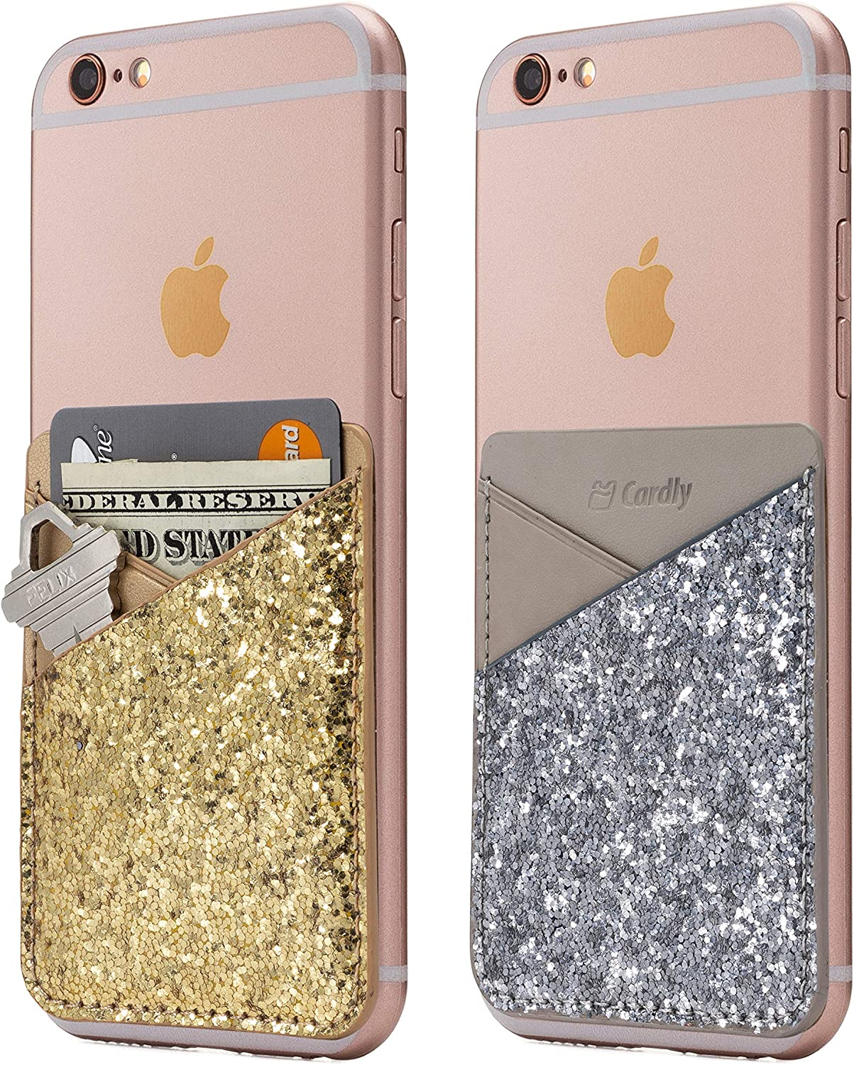 (Two) Cell Phone Stick On Wallet Card Holder Phone Pocket for iPhone, Android and All Smartphones. (Silver and Gold)