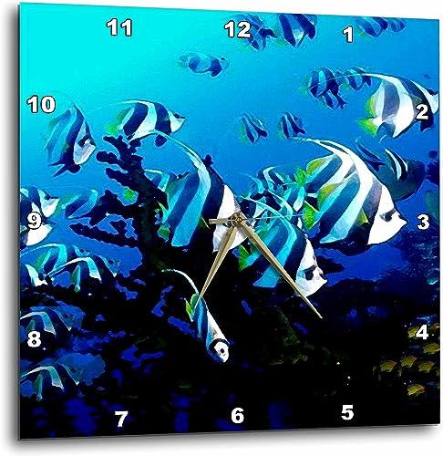3dRose DPP_26847_3 Deep Blue Sea Life Creatures-Wall Clock, 15 by 15-Inch