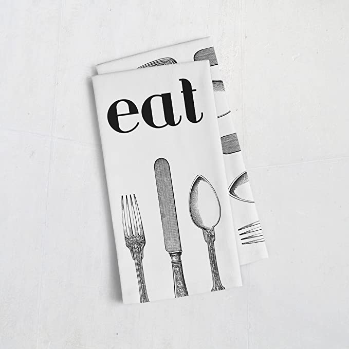 Eat and Utensils 100% Cotton Tea Towel Set