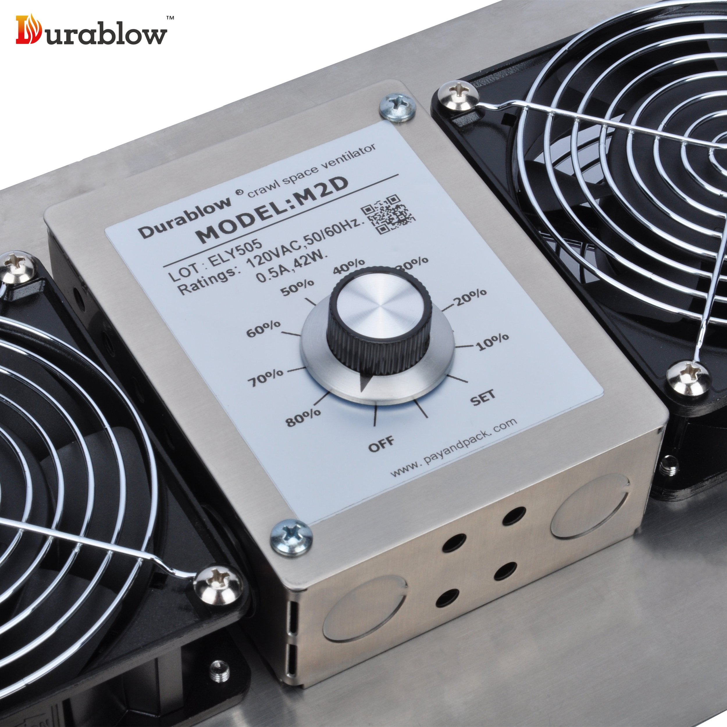 Durablow Stainless Steel Crawl Space Foundation Dual Fans Ventilator + Built-in Dehumidistat (Stainless Steel 304, M2D) by Durablow (Image #6)