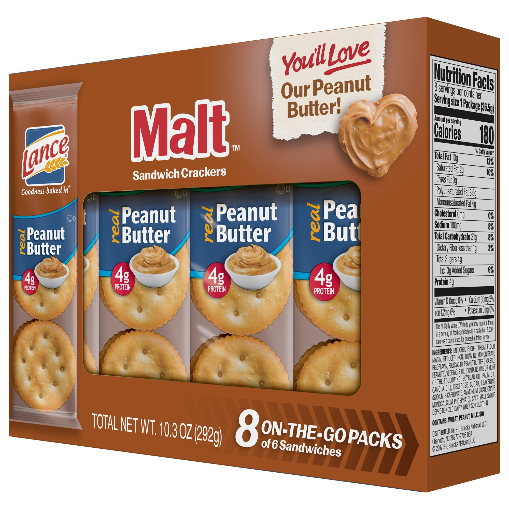 Lance Sandwich Crackers, Malt with Peanut Butter, 8-Count Boxes (Pack of 14) by Lance (Image #7)