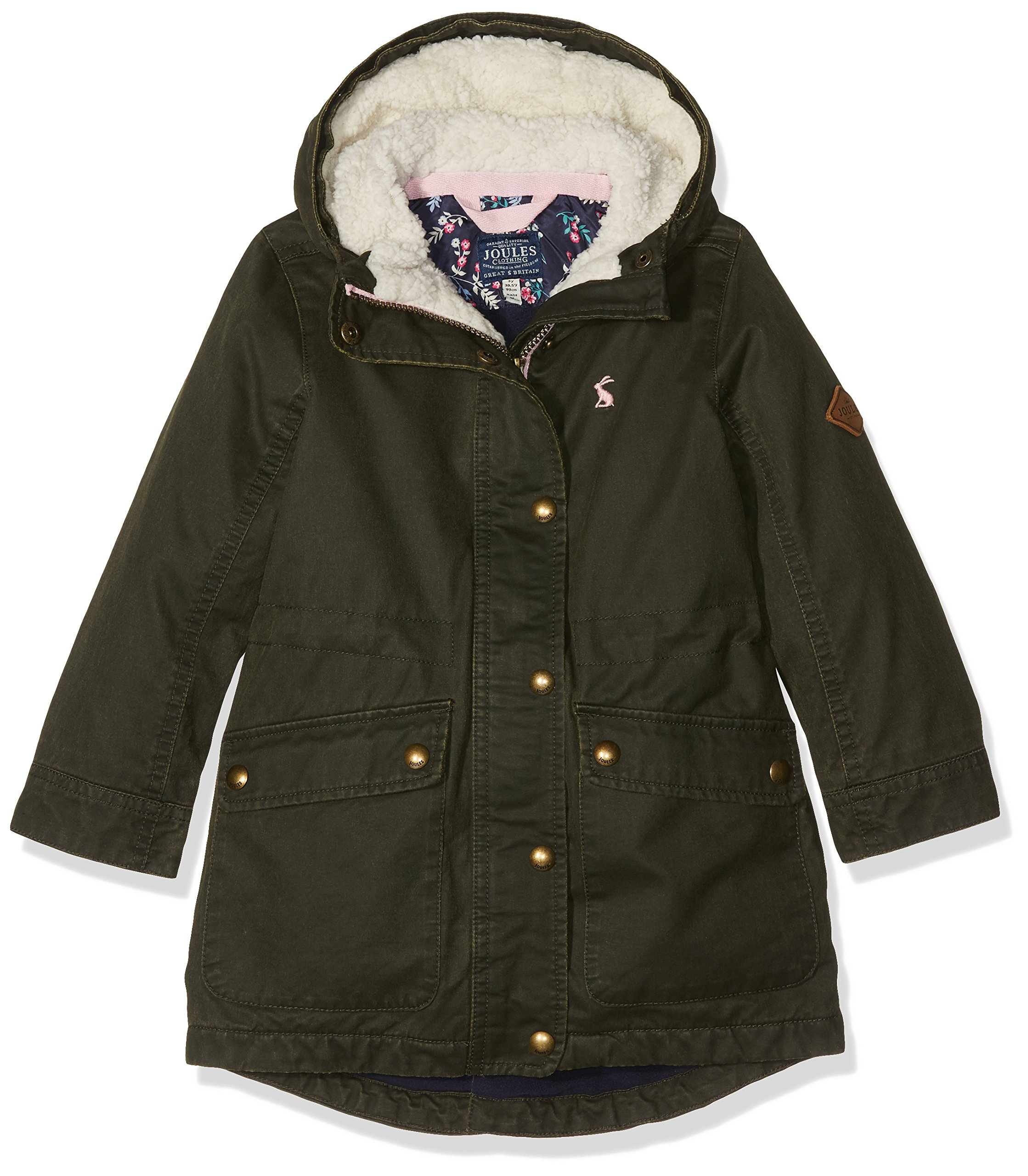 Joules Little Girls' Wynter Faux Wax Parka, Everglade, 5 by Joules (Image #3)