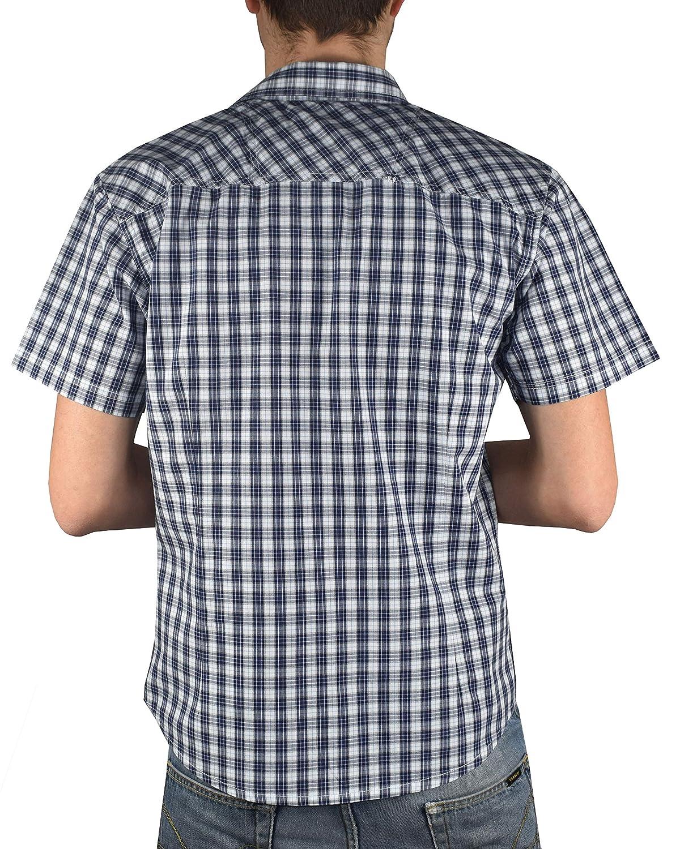 1stAmerican Camicia Casual da Uomo Mezza Manica 100/% Cotone Vari Colori Doppia tascha applicata con Chiusura a Bottoni Pressione Camicia Manica Corta in Diverse colorazioni