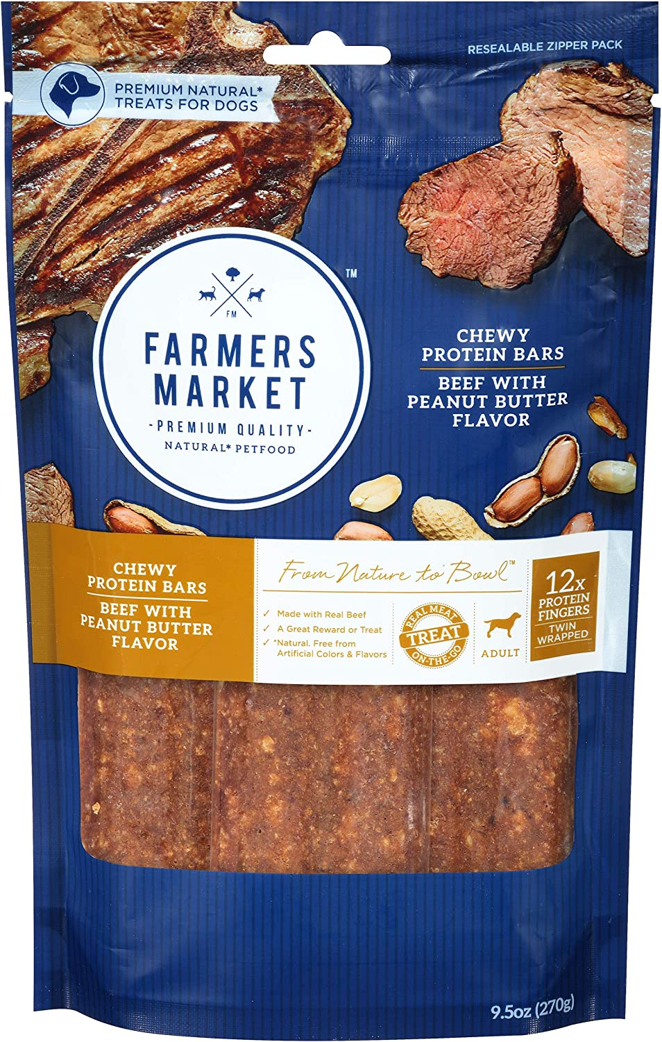 Farmers Market Pet Food Premium Natural Chewy Protein Bars Dog Treats, 9.5 Oz. Bag, Beef With Peanut Butter Flavor