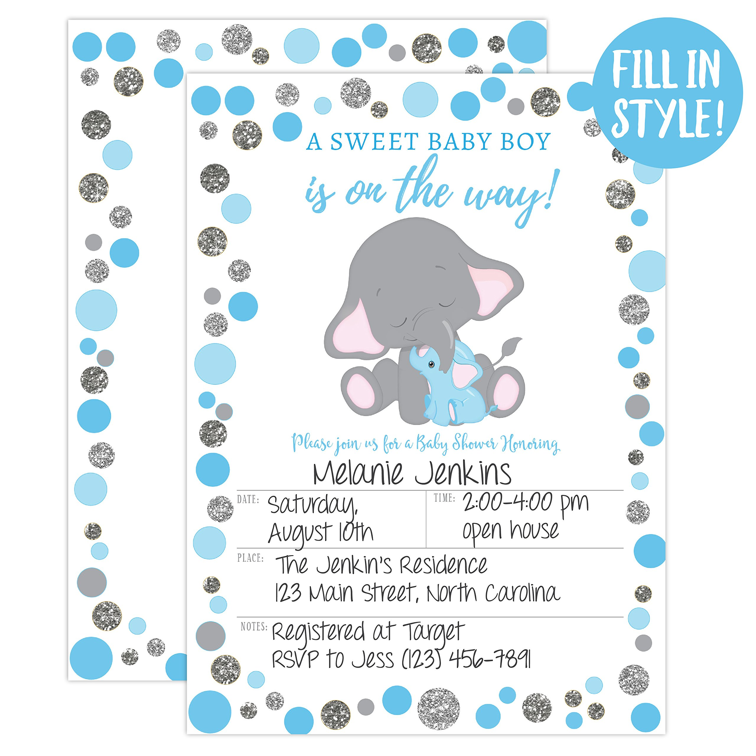 Boy Elephant Baby Shower Invitation, Blue and Silver Elephant Baby Shower, Jungle Baby Shower Invite, It's a Boy, 20 Fill in Invitations and Envelopes by Your Main Event Prints (Image #2)