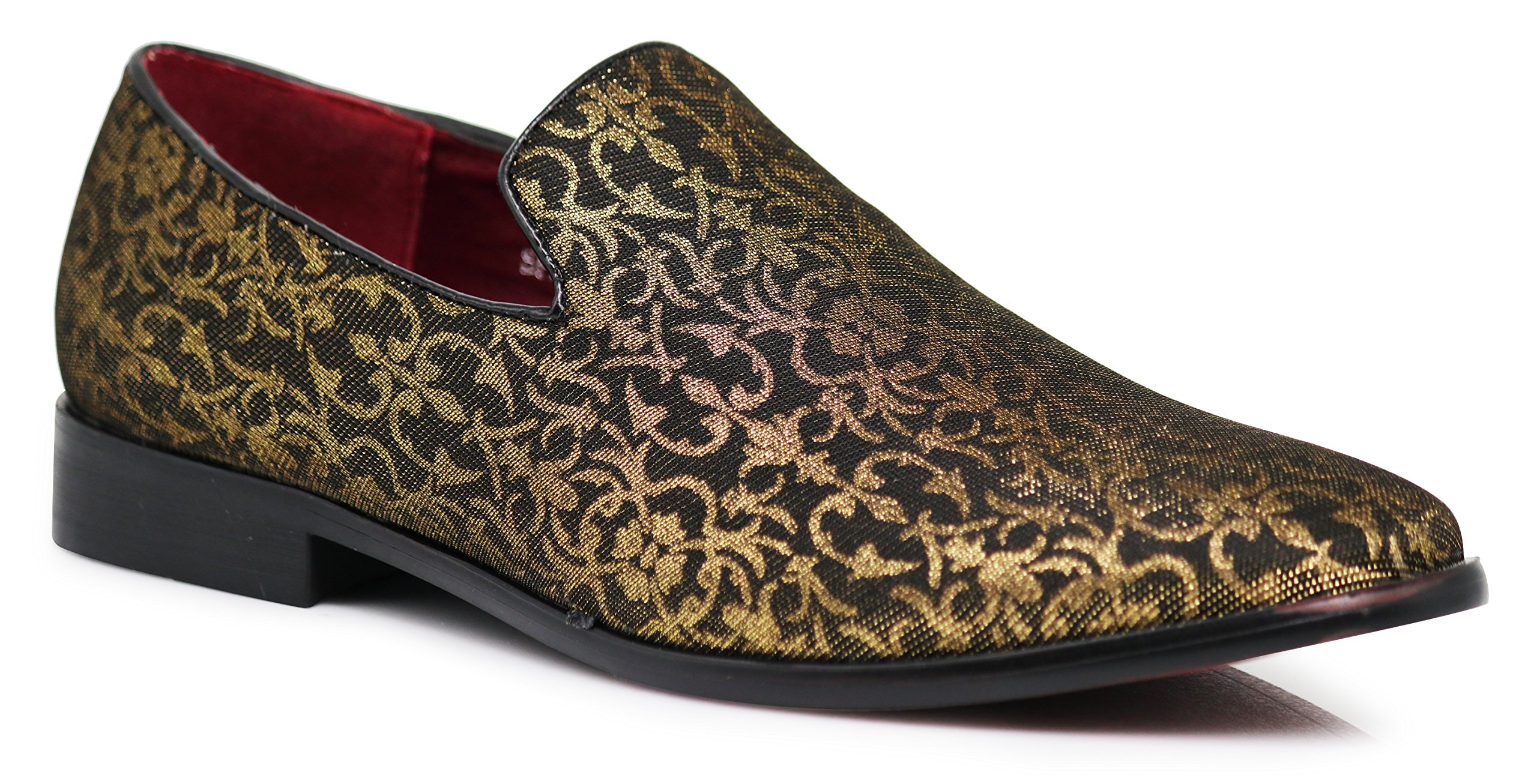 Enzo Romeo Spg Men's Vintage Satin Silky Floral Print Dress Loafers Slip On Shoes Classic Tuxedo Dress Shoes (11, Gold)