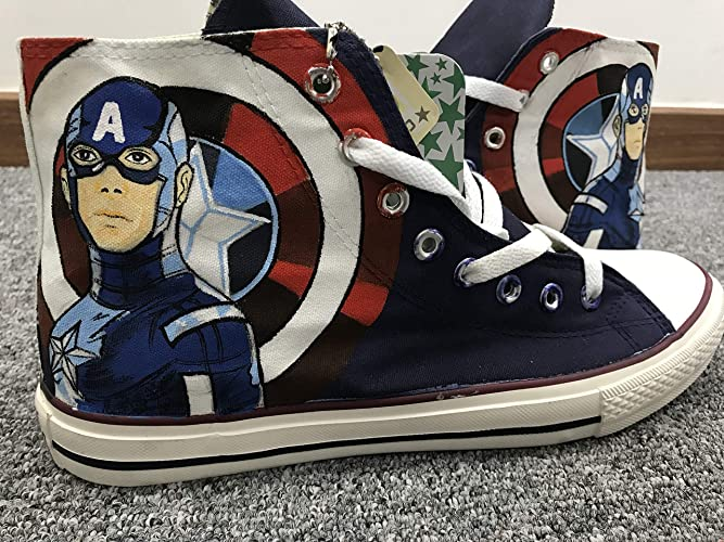 6ab700eed472 Amazon.com  The Avengers Captain America Shoes Custom Shoes Hand Painted  Canvas Sneakers Shoes For Men Women  Handmade