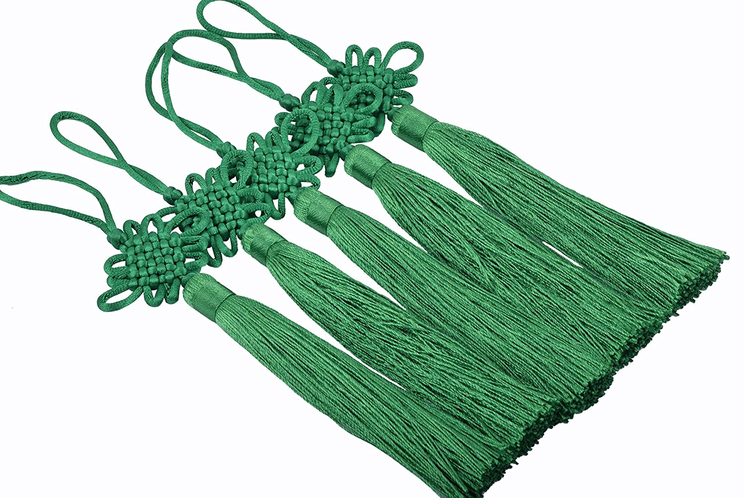 KONMAY 10pcs Handmade Silky Large Size(6.4'') Tassels with Satin Silk Made Chinese Knots (Kelly Green) KMTS003KGR