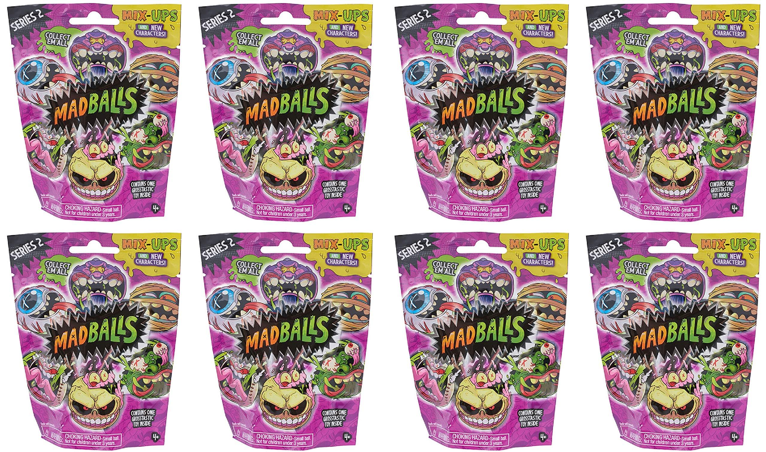 Madballs LOT of (8) Blind Bag Packs Mini MAD Balls Series 2 (Sealed)