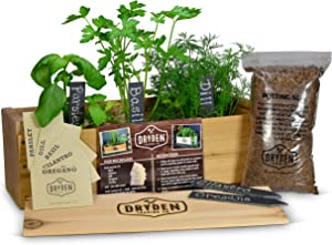 "Indoor/Outdoor Herb Garden Kit - Cedar Planter Box with Herb Seeds, Plant Stakes and Expanding Wondersoil - 16"" Long x 6"" Wide x 6"" Tall (Will fit in windowsill up to 6"" deep)"