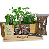 "Indoor/Outdoor Herb Garden Kit - Cedar Planter Box with Herb Seeds, Plant Stakes and Expanding Wondersoil - 16"" Long x 6"" Wid"