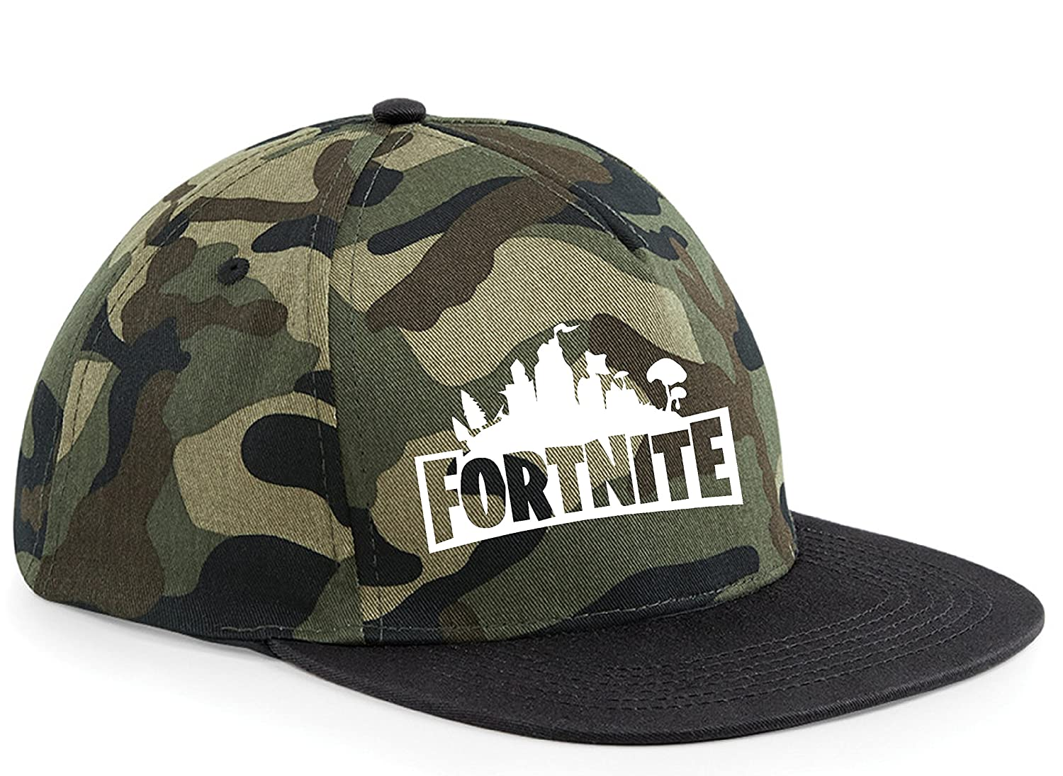 64ff21b39f6 Snapback Cap HAT Fortnite Inspired PS4 Xbox One PC Gaming Adjustable (CAMO  HAT Black Peak)  Amazon.co.uk  Clothing