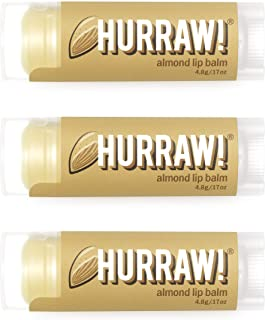 product image for Hurraw! Almond Lip Balm, 3 Pack: Organic, Certified Vegan, Cruelty and Gluten Free. Non-GMO, 100% Natural Ingredients. Bee, Shea, Soy and Palm Free. Made in USA