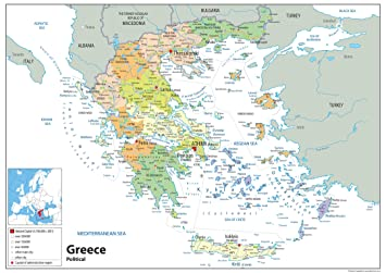 Greece Political Map Paper Laminated A1 Size 59 4 X 84 1 Cm