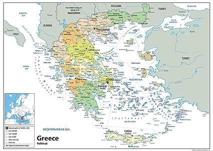 Cartina Della Grecia Politica.Mappa Politica Della Grecia Su Carta Laminata Ga Lingua
