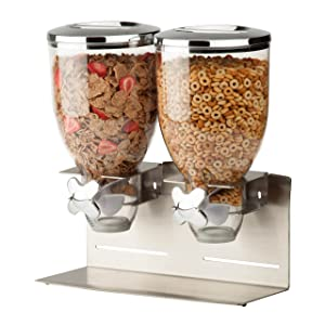Zevro KCH-06146 Indispensable Designer Dry Food Dispenser, Dual Control, Stainless Steel, Silver