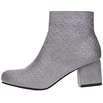 7467f3502e4e Via Rosa Women s Microsuede Ankle Boots Size 6 Boots with Rhinestones  Slip-On Fashion Shoes