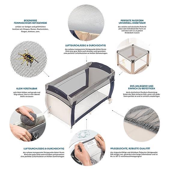 Zamboo Mosquitera universal para cuna de viaje | Red antiinsectos de malla fina para cunas y minicunas 120x60 / 80x50 cm - resistente y lavable | Color ...