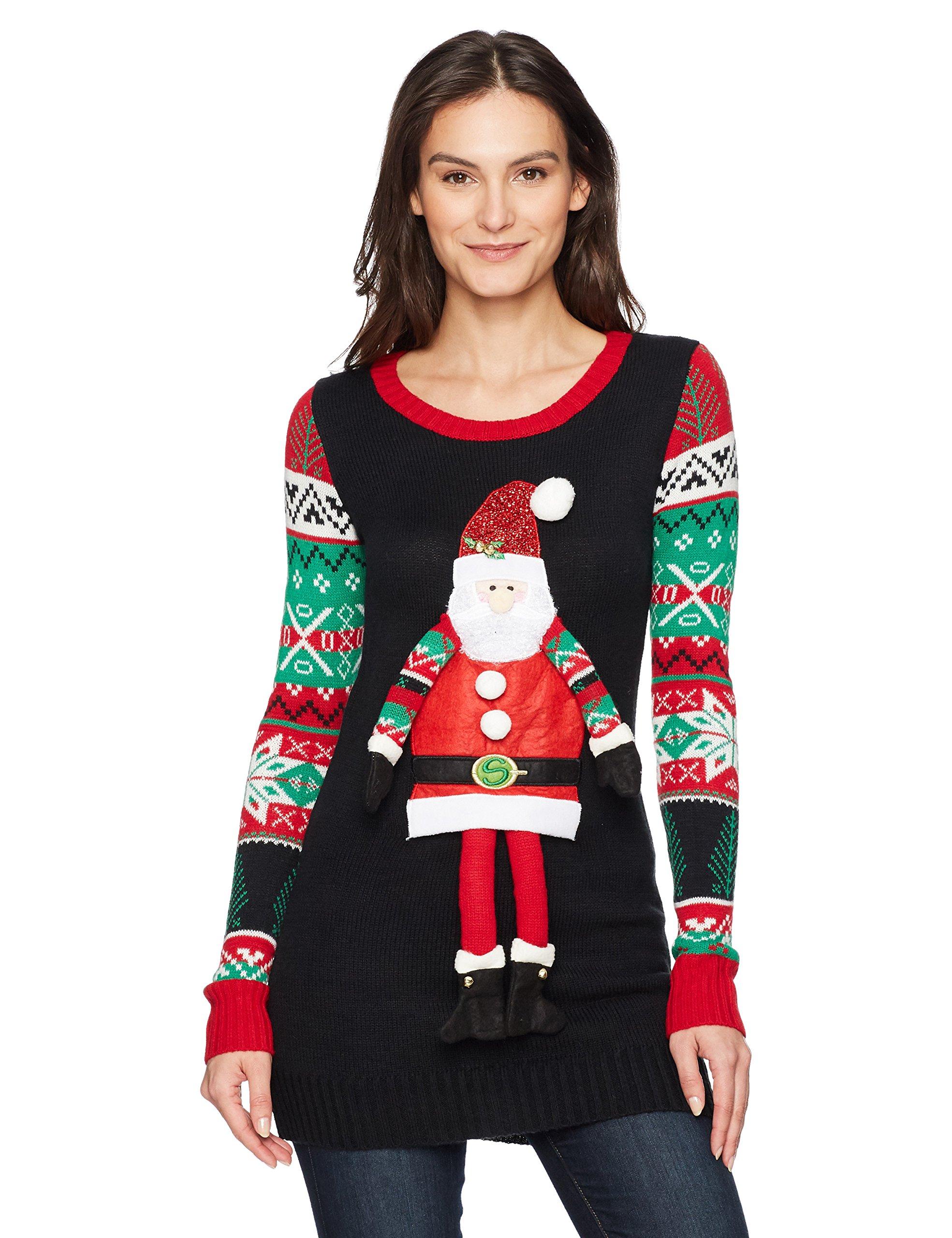 Blizzard Bay Women's L/s Christmas Tunic W/Dangling Santa, Black, M