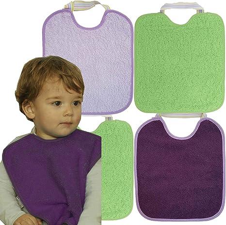 Pack 4 Baberos Impermeables para Beb/é Ni/ño 90/% Algod/ón Ti TIN Lote de 4 Baberos con cierre de Goma para beb/és de 6 a 18 meses 10/% Poli/éster 23x28 cm