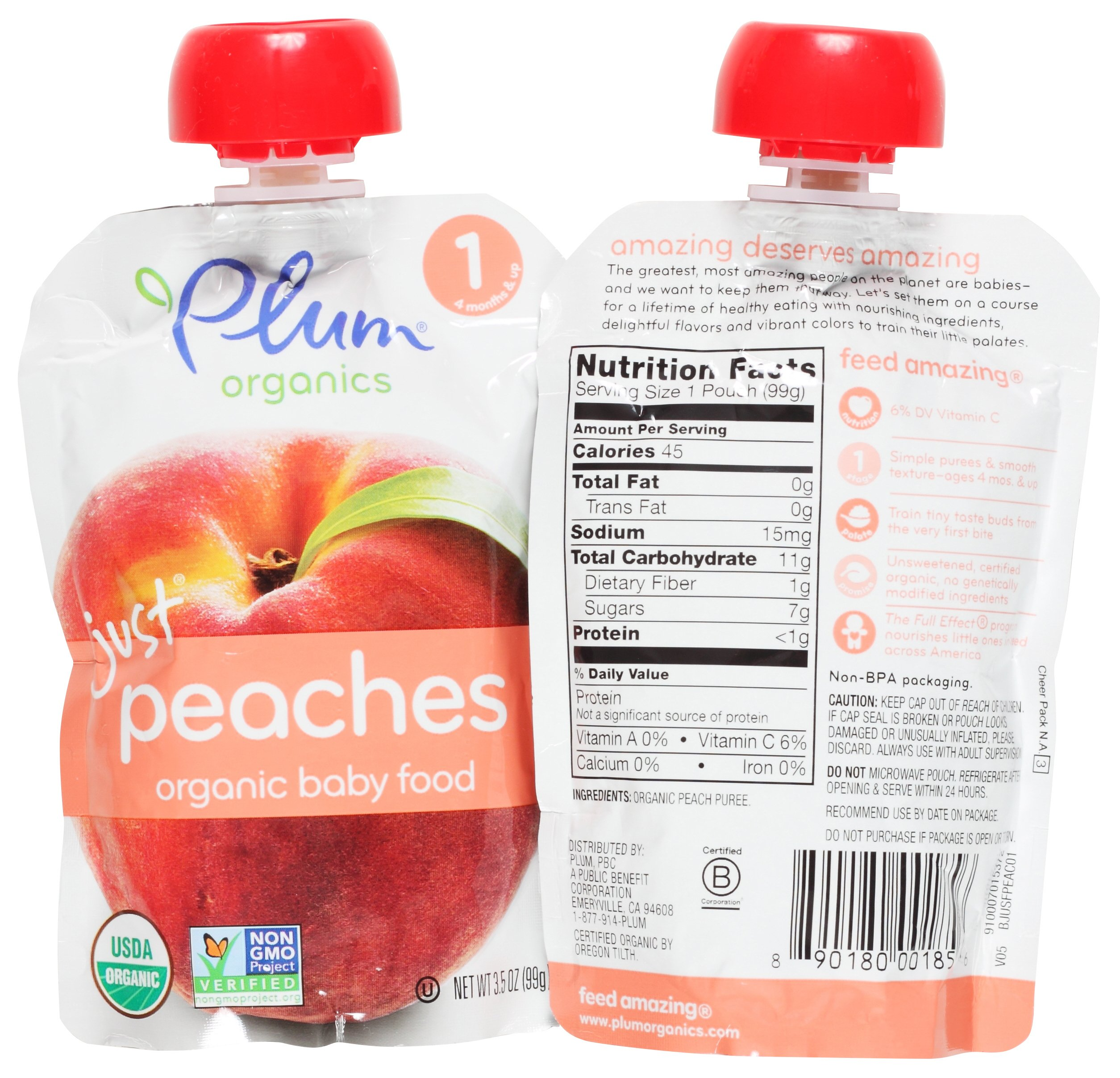 Plum Organics Stage 1 Just Fruit & Veggies Variety Pouch Bundle: (2) Just Prunes 3.5oz, (2) Just Mangos 3.5oz, (2) Just Sweet Potato 3oz, and (2) Just Peaches 3.5oz (8 Pack Total) by Plum Organics (Image #5)