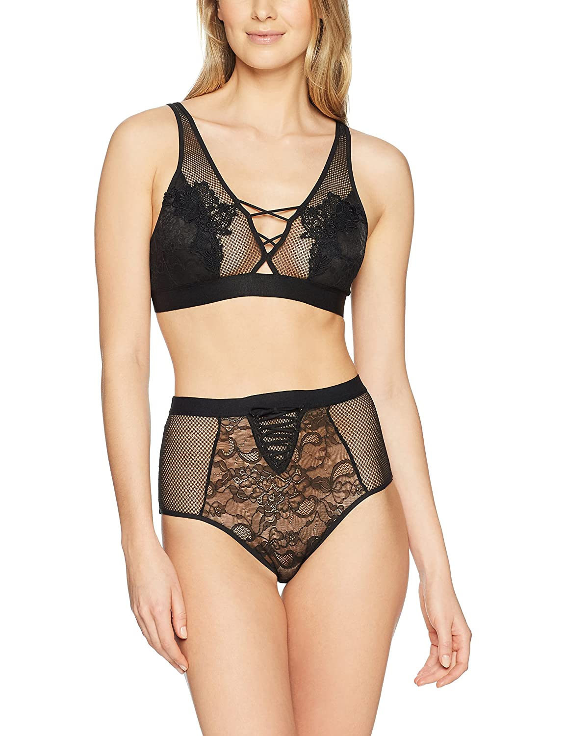 ab9857e2d3f Amazon.com  Mae Women s Allover Lace Bralette and High Waisted Panty Set   Clothing