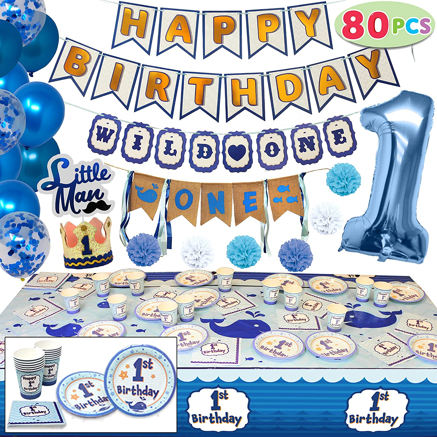 JOYIN 80 PCs Baby Boy 1st Happy Birthday Decorations Party Supplies All-in-One Wild Pack (High Chair Bday Banner, Confetti Balloons, Hats, Cake Topper, Plates, Cups, Tableware) Ideal for Kids One Year Old First Parties.