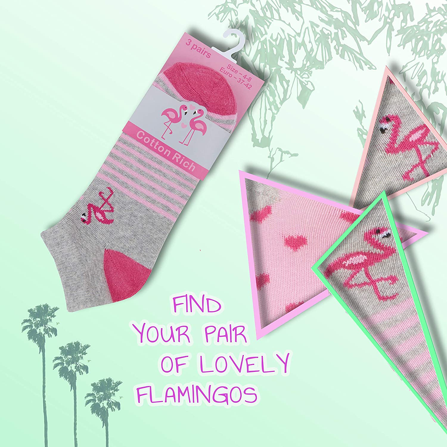 Ladies 5 Pack Socks Side By Side Design Coloured Bright Cotton Rich Size 4-8