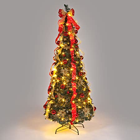 6ft pre decorated pop up christmas tree with warm white leds