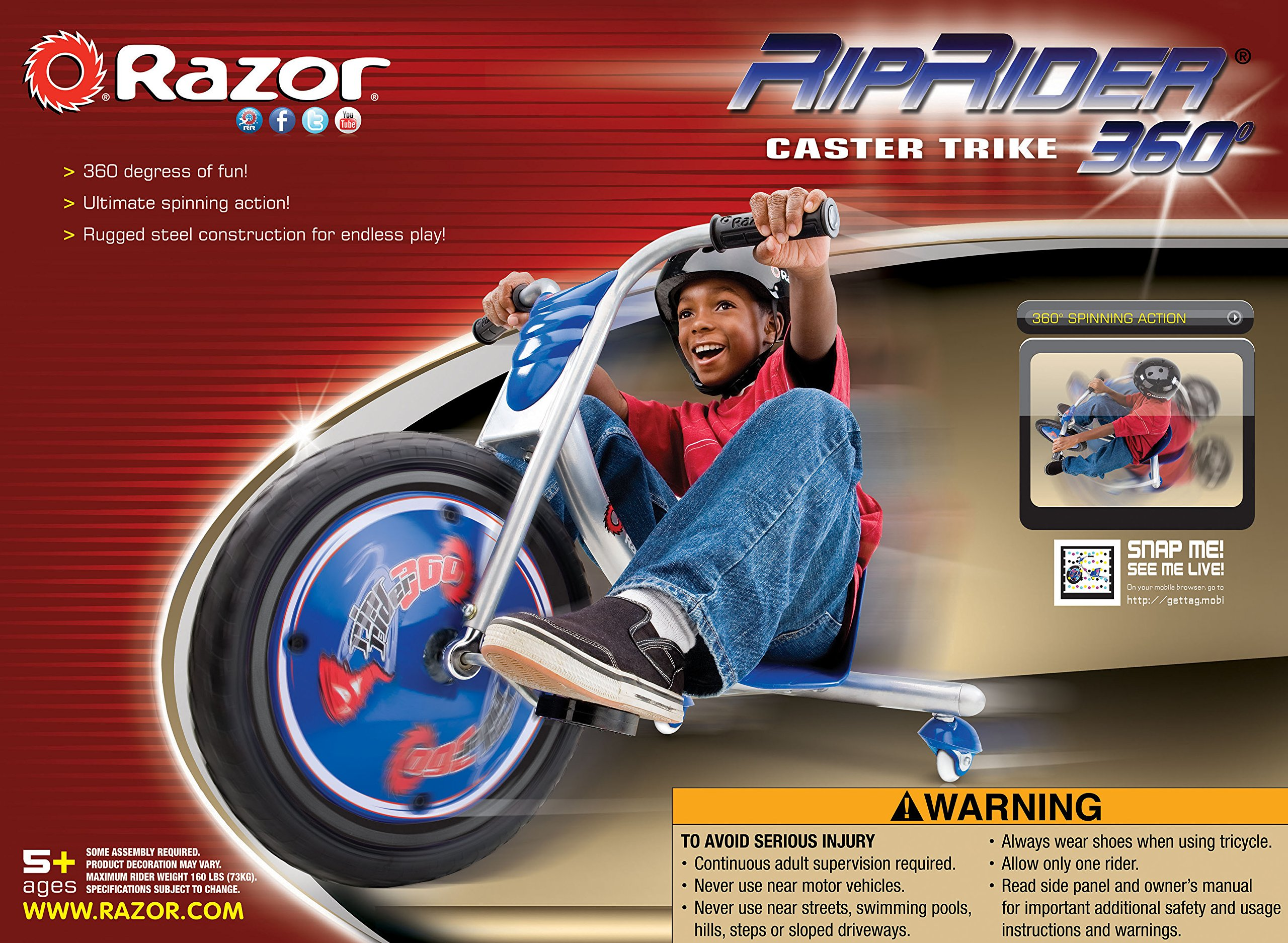 Razor RipRider 360 Caster Trike, Blue by Razor (Image #9)