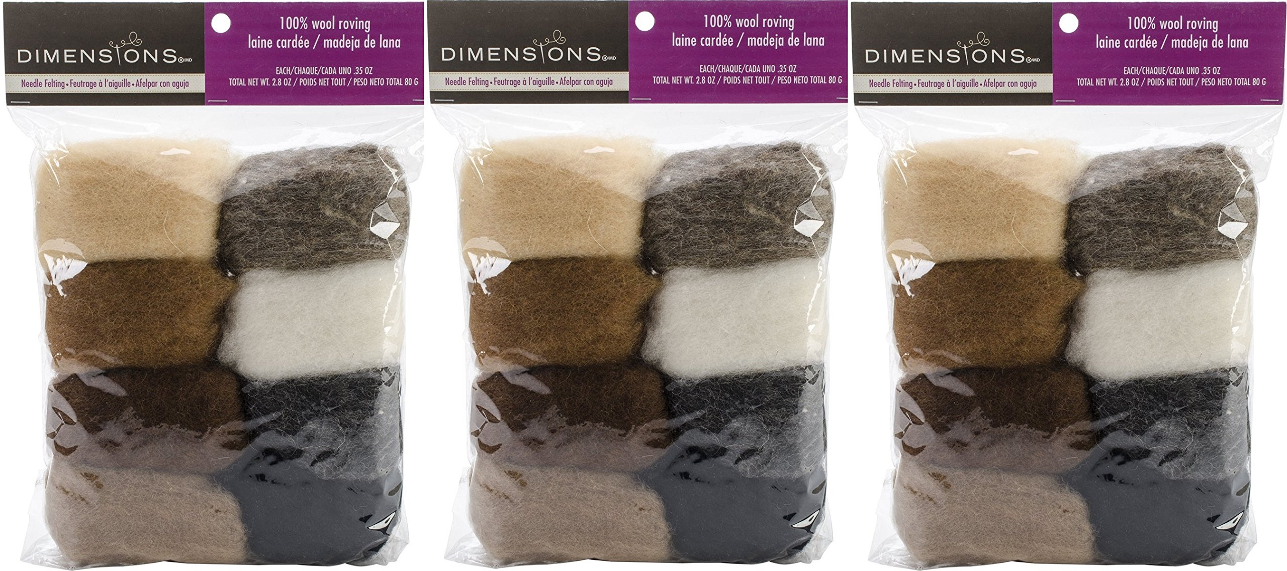 Dimensions Crafts 72-74004 Earth Tone Wool Roving for Needle Felting, 8-Pack (3 Pack)