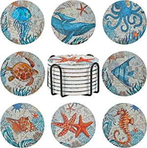 8 Pieces Stone Coasters with Holder for Drinks, Cork Base Ocean Beach Theme Tropical, for Housewarming, Apartment Kitchen Room Bar Decor, Funny Birthday, Wooden Table