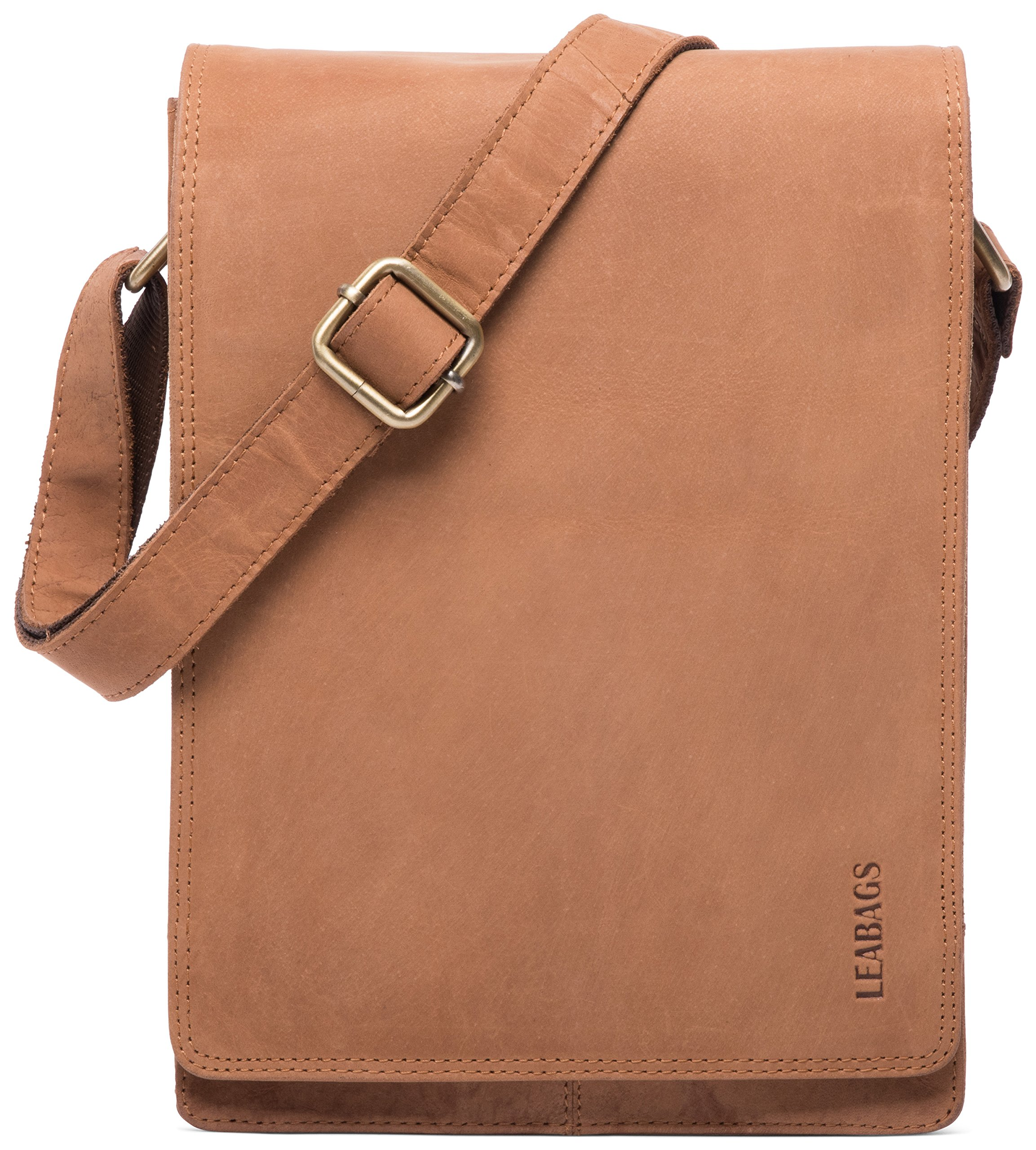 LEABAGS Dover genuine buffalo leather shoulder bag in vintage style - Brown
