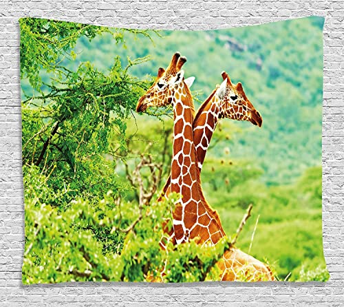 Ambesonne Africa Tapestry, Giraffes with Their Neck in The Tropical Savannah Habitat Nature Idyllic Photo, Wide Wall Hanging for Bedroom Living Room Dorm, 80 X 60 , Green Orange