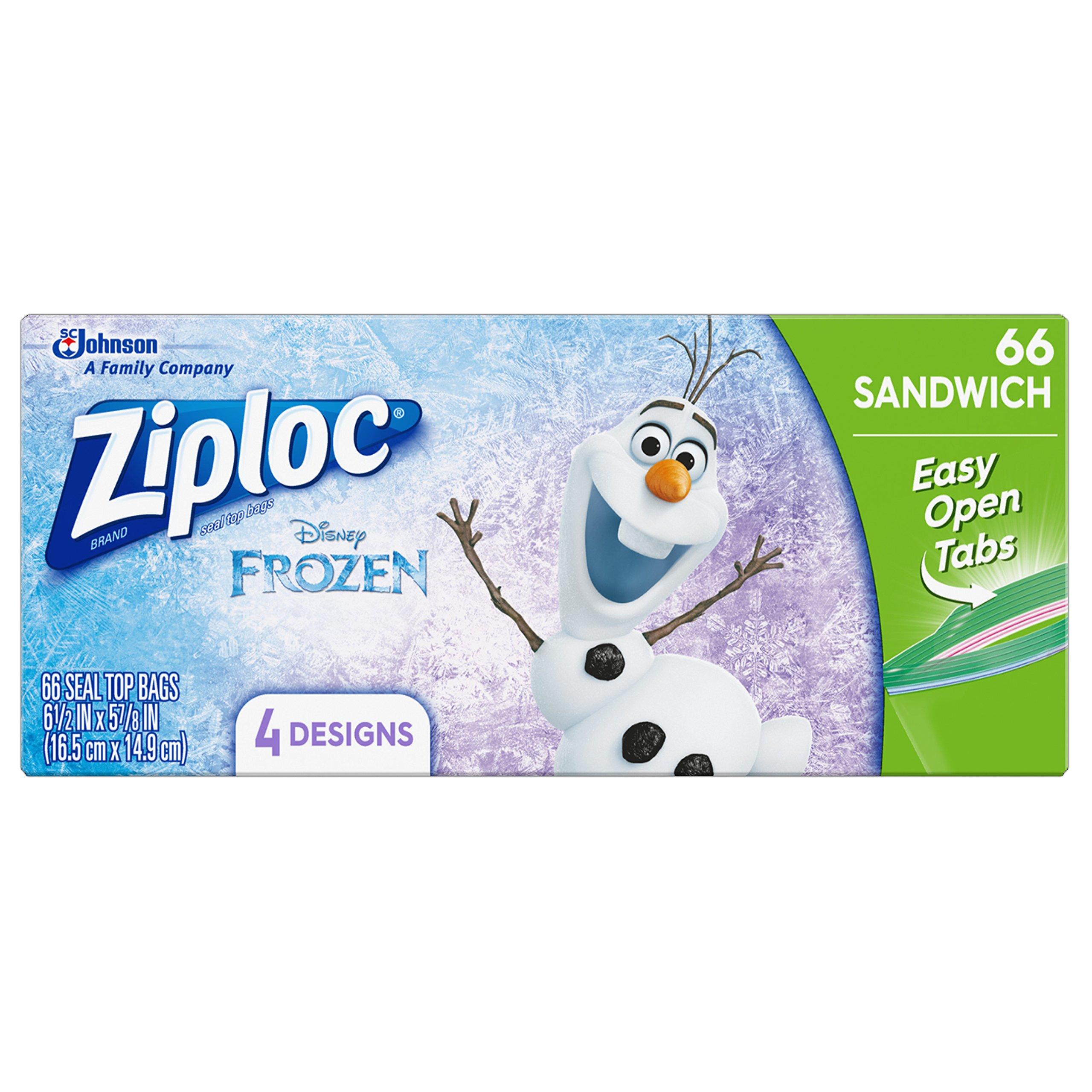 Amazon.com: Ziploc Brand Sandwich Bags featuring Disney Frozen Designs, 66 ct: Health & Personal Care