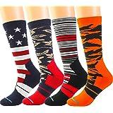 Boys Athletic Socks, Fashion Sport Socks for Big Kids Boys, Cotton Mid-Calf, 4pk