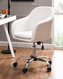 IDS Online 18639 W Faux Leather Office Desk Swivel Chair, White