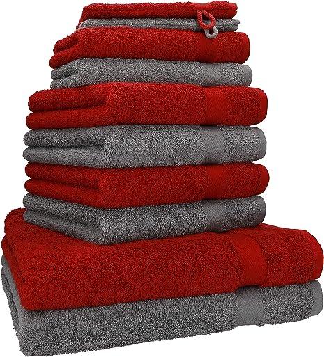 BETZ Lot de 10 Serviettes Set de 2 Serviettes de Bain 4 Serviettes de Toilette 2 Serviettes dinvit/é et 2 Gants de Toilette 100/% Coton Premium Couleur Rouge fonc/é Gris Anthracite