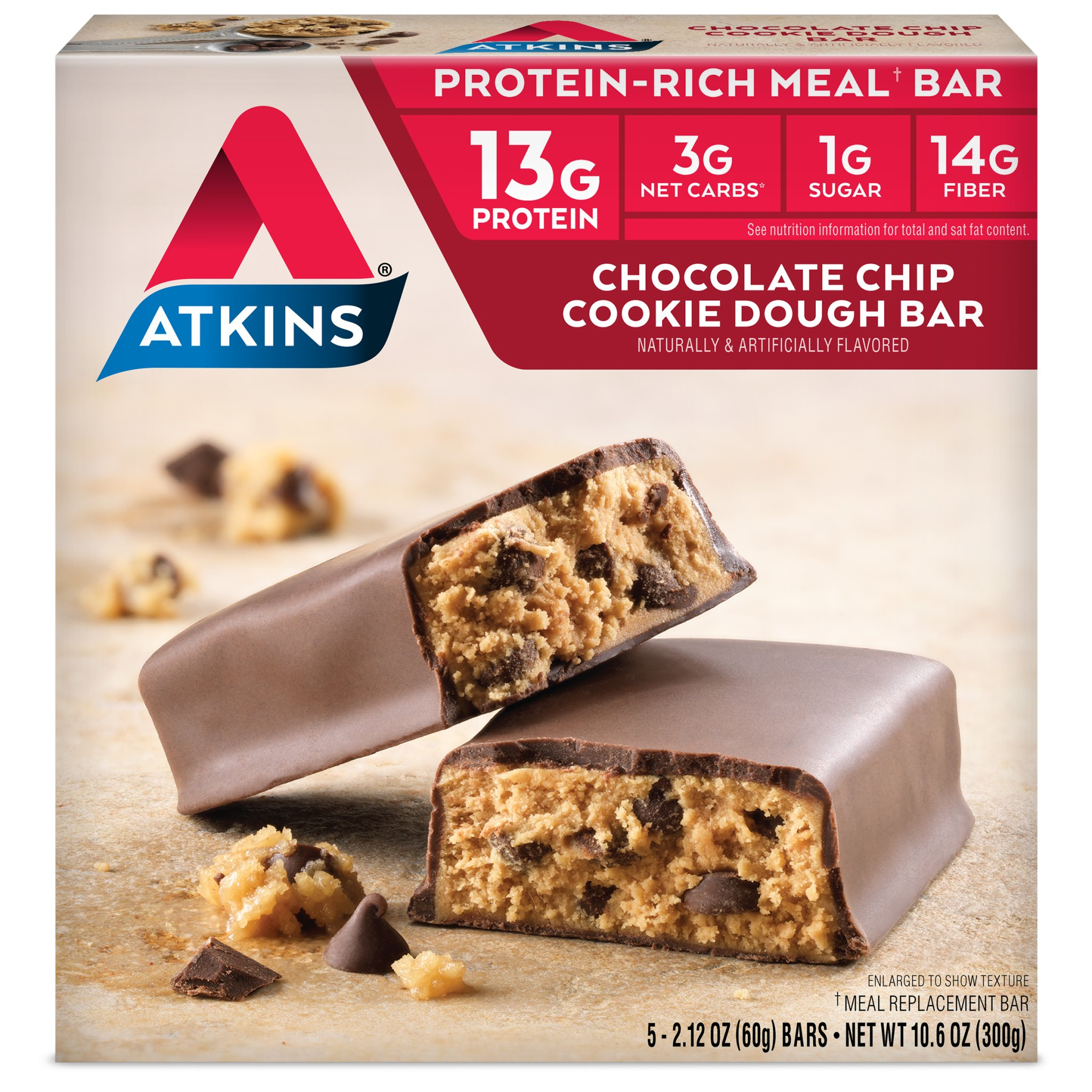 Atkins Protein-Rich Meal Bar, Chocolate Chip Cookie Dough, Keto Friendly, 5 Count each pack, 10.6 Ounce (Pack of 6)