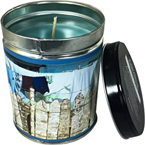Our Own Candle Company Fresh Linen Scented Candle in 13 Ounce Tin with a Clothesline Label