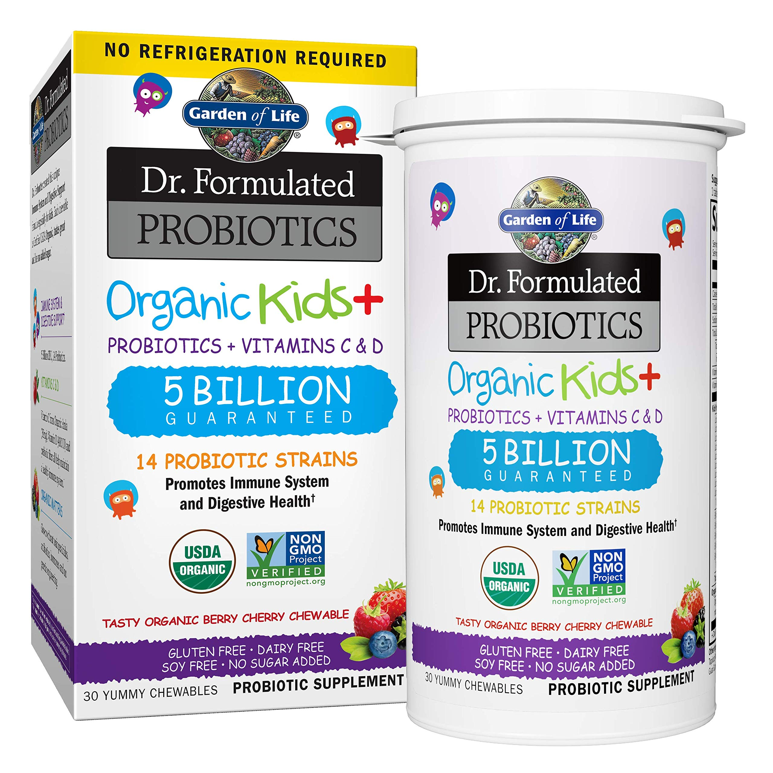 Garden of Life-Dr. Formulated Probiotics Organic Kids-Berry Cherry-Acidophilus and Probiotic Promotes Immune System,Digestive Health-Gluten,Dairy,Soy-Free,No Sugar Added-Chewables (30 Count) by Garden of Life