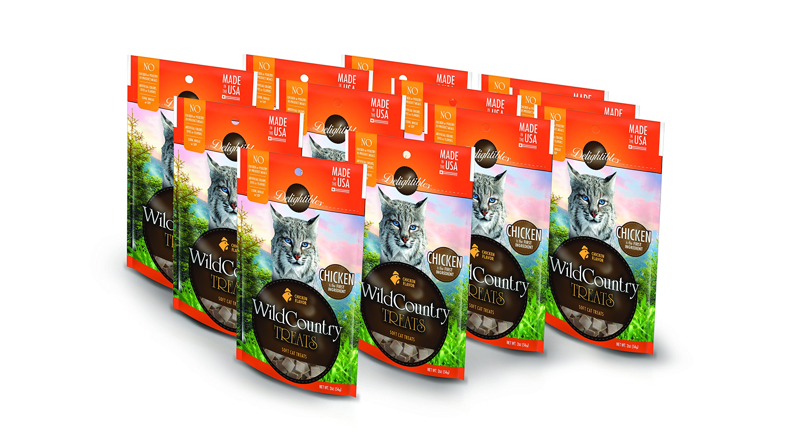 Delightibles Wild Country Meat Cat Treats, Chicken, 12 Pack of 2 oz Pouches