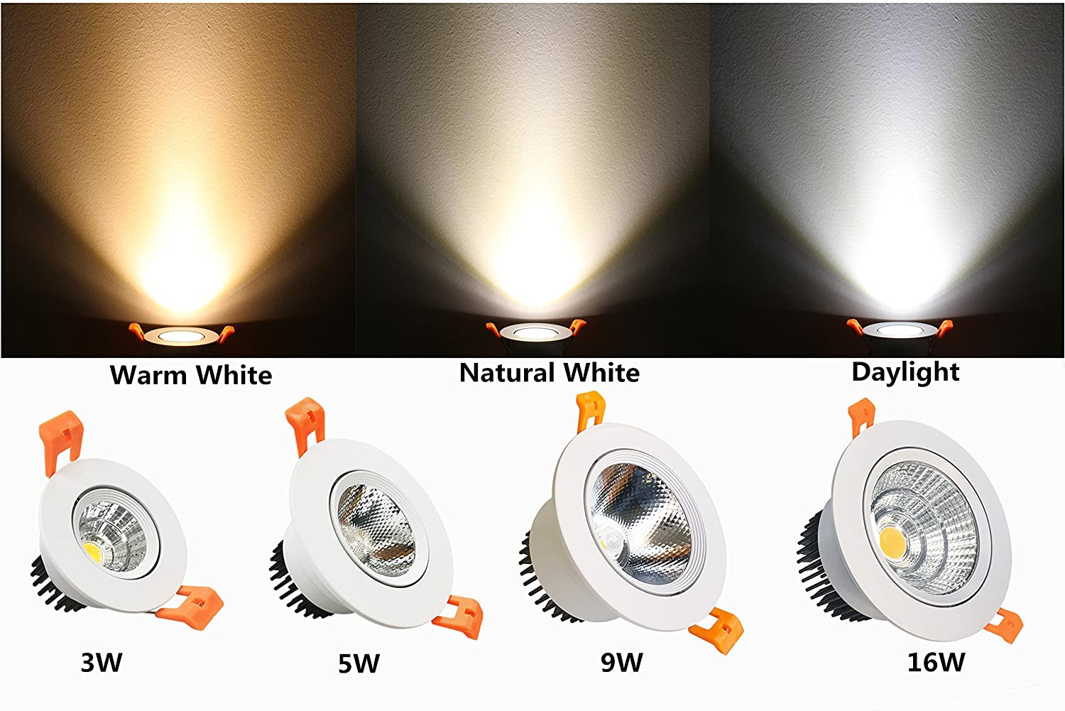 60 Beam Angle 80W Halogen Bulbs Equivalent 10 Pack LightingWill LED Downlight 9W Dimmable Natural White 4000K-4500K CRI80 COB Directional Recessed Ceiling Light Cut-out 3.35in 85mm