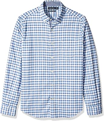 Nautica Hombre W83606 Manga Larga Camisa de Botones - Azul - Medium: Amazon.es: Ropa y accesorios