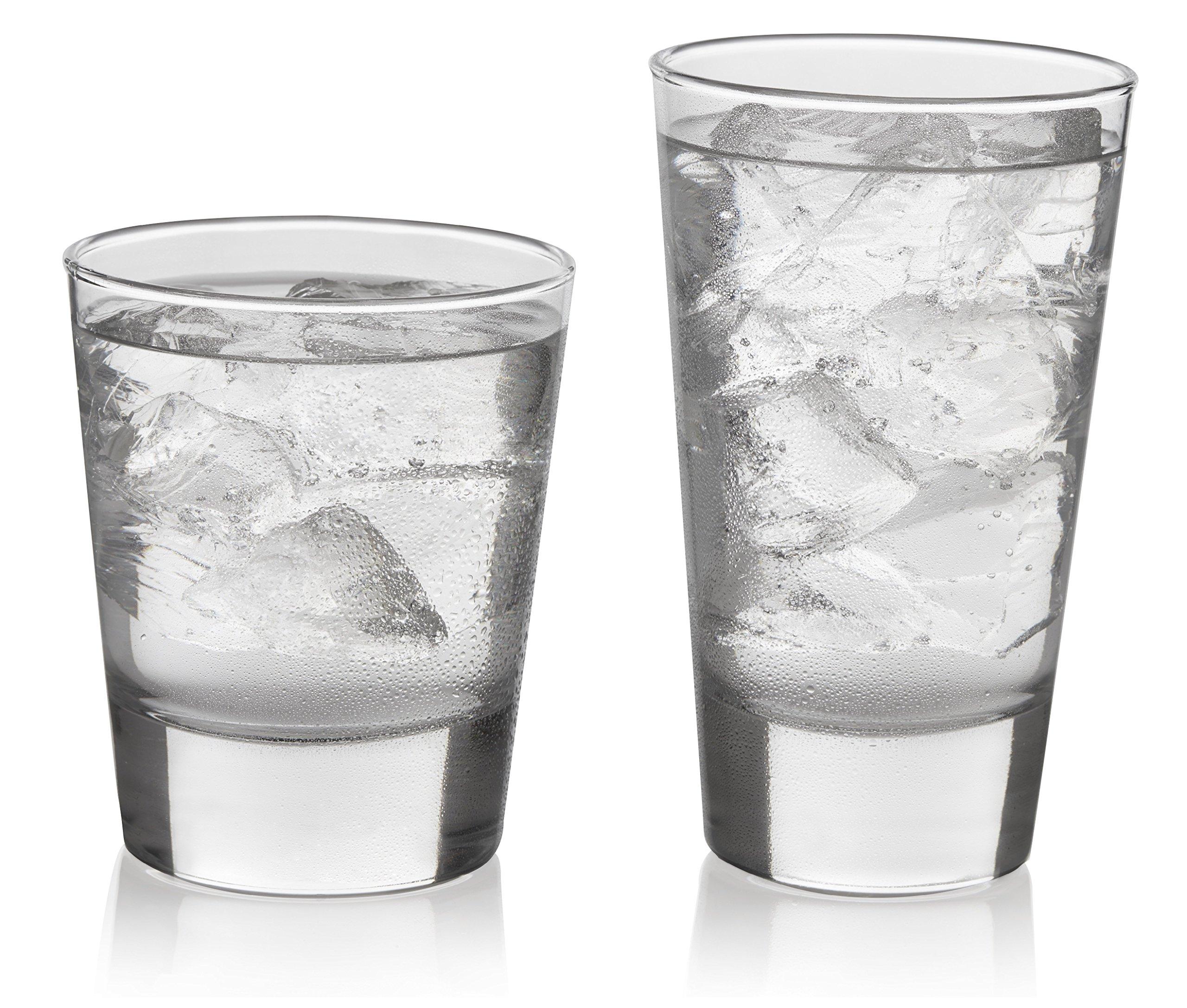 Libbey Geo Glass Drinkware Combination Set, 8-15.5 ounce Drinking Glasses & 8-13.25 ounce Rocks Glasses, Lead-Free, 16-piece
