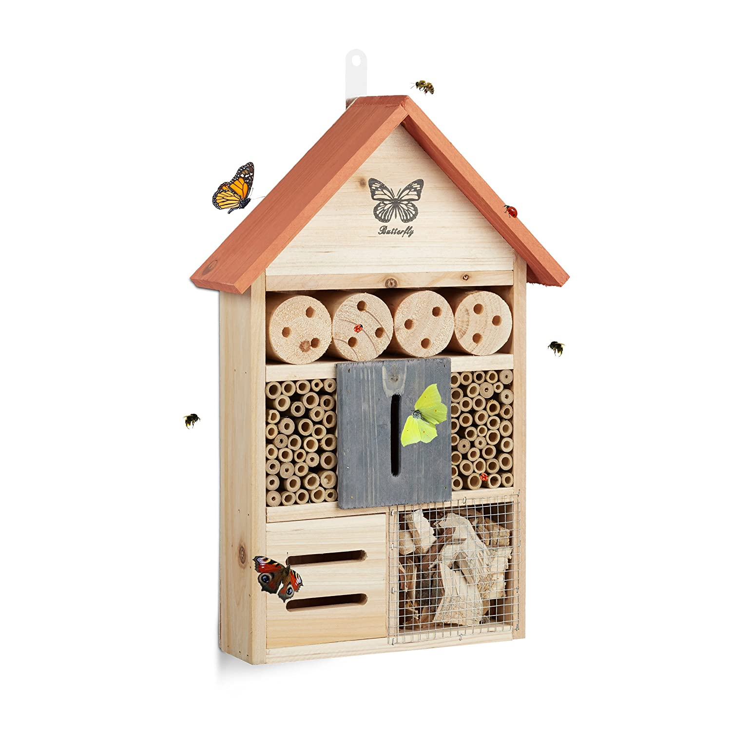 Relaxdays Butterfly Insect Hotel, Nest Aid for Bees, Ladybugs, for the Garden, HxWxD: 41.5 x 27.5 x 8.5 cm, Orange 10020738_57