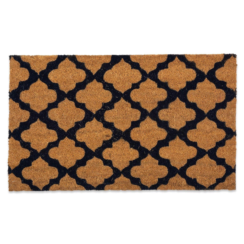 J&M Home Fashions Natural Coir Coco Fiber Non-Slip Outdoor/Indoor Doormat, 18x30, Moroccan Blue