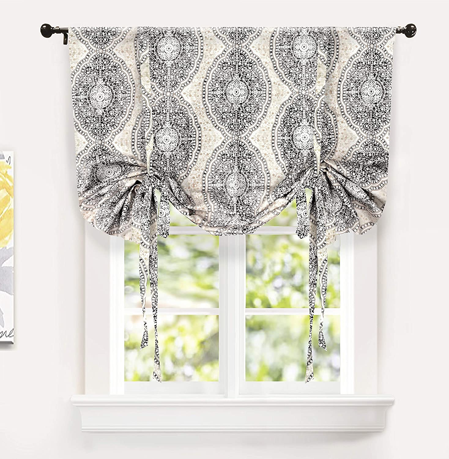 "DriftAway Adrianne Tie Up Curtain,Damask/Floral Pattern Thermal/Room Darkening Insulated Blackout Window Curtain,Adjustable Balloon Curtain Shade for Small Window Rod Pocket,Single,45""x63""(Beige/Gray)"