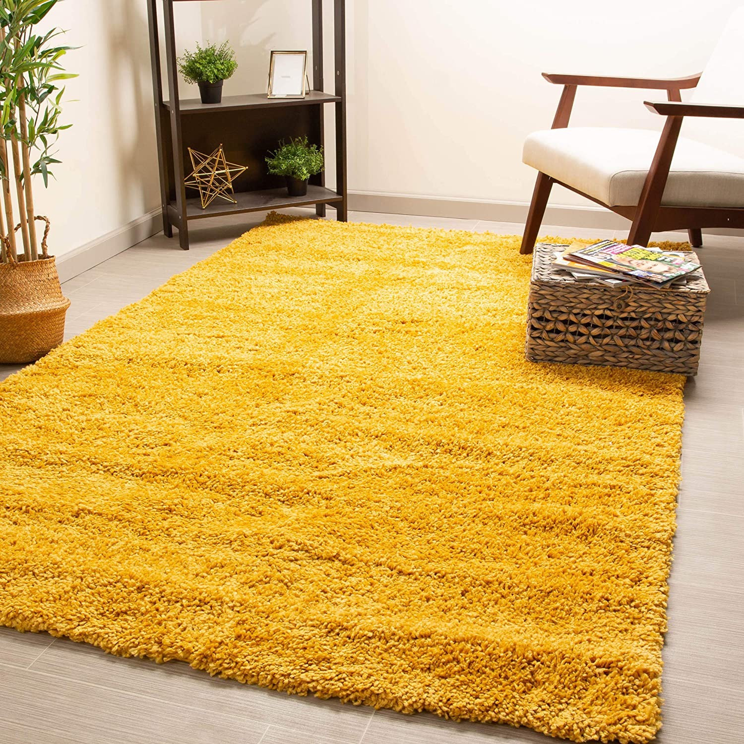 Super Area Rugs Fluffy Soft Fiber Shag Rug Perfect For Living Rooms Dining Rooms And Home Decor Yellow 3 3 X 5 3 Rectangle Furniture Decor
