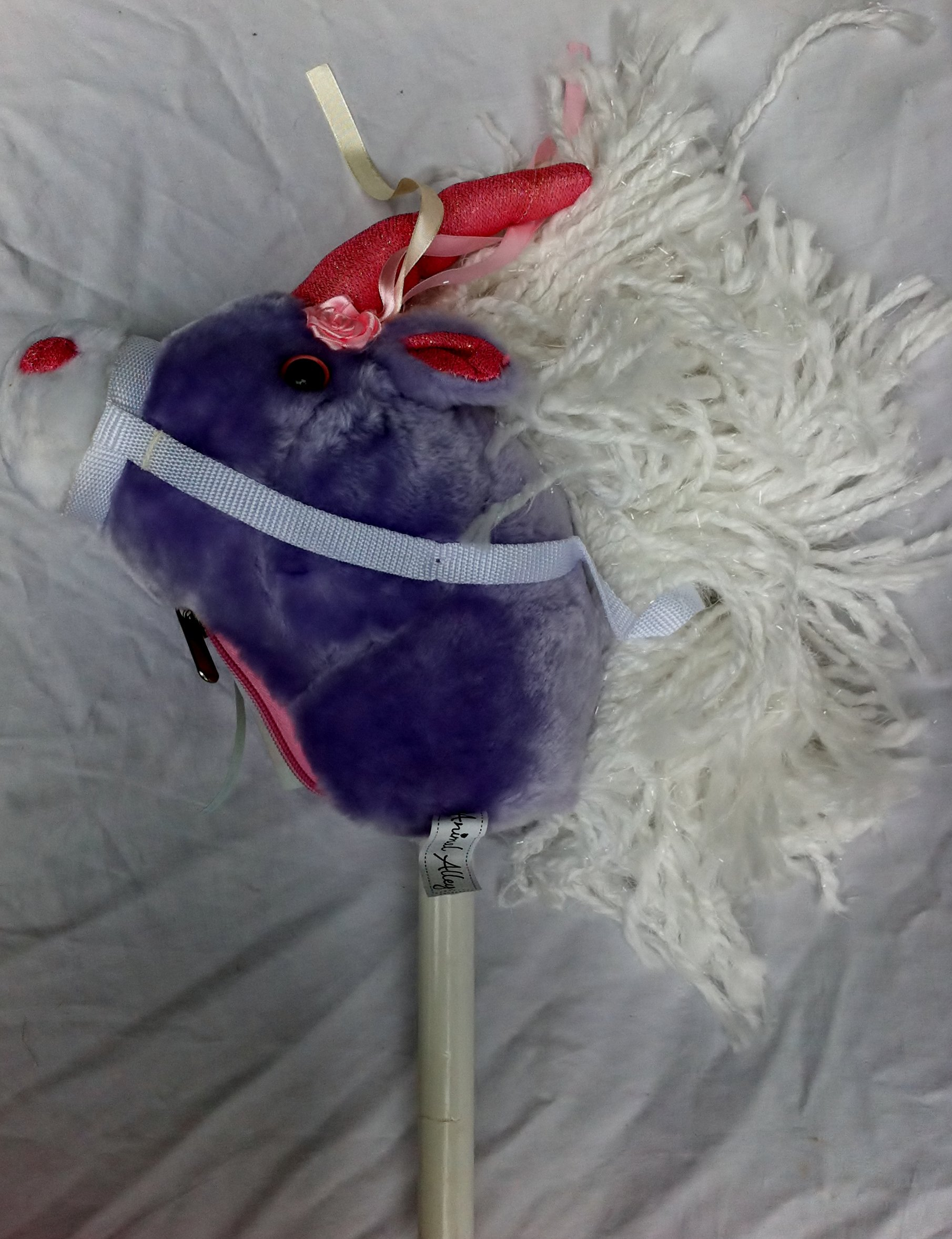 Pink Purple Unicorn Hobby Horse on a Stick
